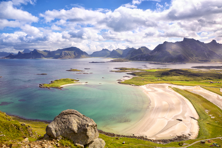 Lofoten Islands landscape with deach and mountains, Norway Stock Photo