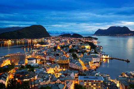 Cityscape of Alesund at dusk, Norway Stock Photo
