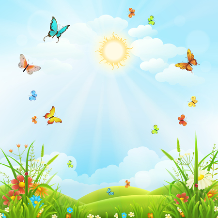 Summer or spring landscape with green grass, flowers and butterflies scenery.