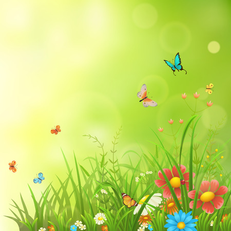 Spring or summer background with green grass, flowers and butterflies Illustration