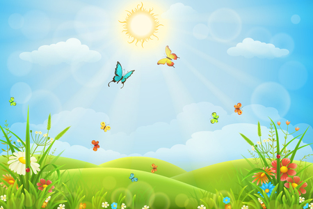Letni krajobraz z zieloną trawą, wzgórzami, kwiatami i motylami. Ilustracje wektorowe