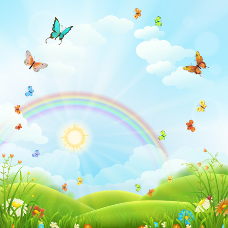 Nature background with green grass, flowers and rainbow