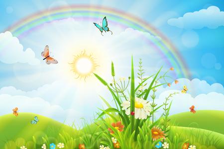 Paesaggio estivo con erba verde, fiori, arcobaleno e sole.