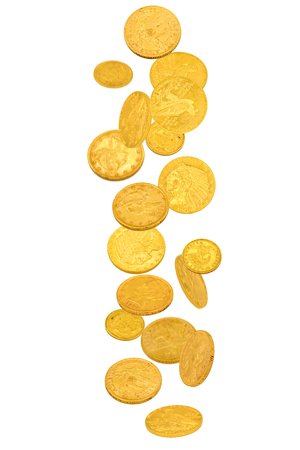 Falling old gold dollar coins isolated on white background Standard-Bild - 113177141