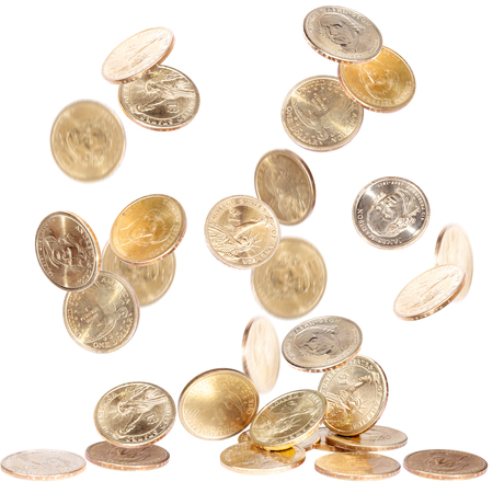 Falling american one dollar coins isolated on white