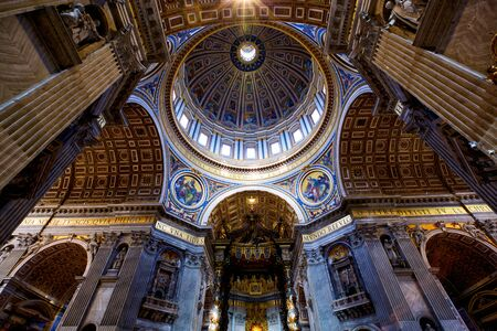 VATICAN CITY, VATICAN - APRIL 16, 2018: Inside the St Peter's basilica, interiors and architectural details
