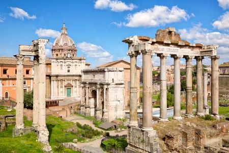 Ancient ruins in Roman Forum, Rome, Lazio, Italy