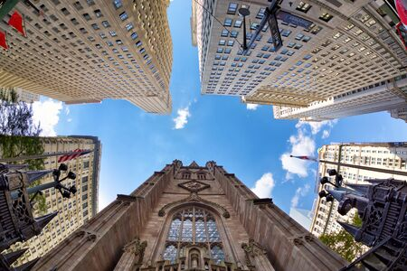 Highrise buildings in financial district New York City Stok Fotoğraf