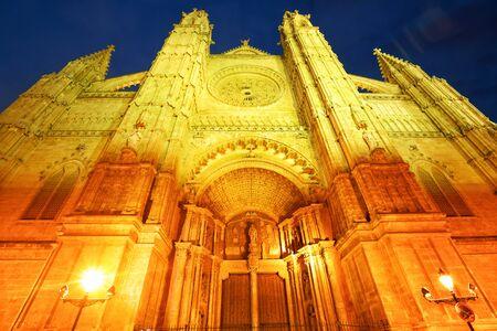Facade of The Cathedral in Palma de Mallorca at night, Spain