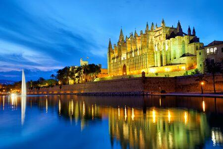 Cathedral Santa Maria in Palma de Mallorca at dusk, Spain