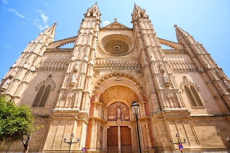 Facade of The Cathedral in Palma de Mallorca, Spain Stok Fotoğraf