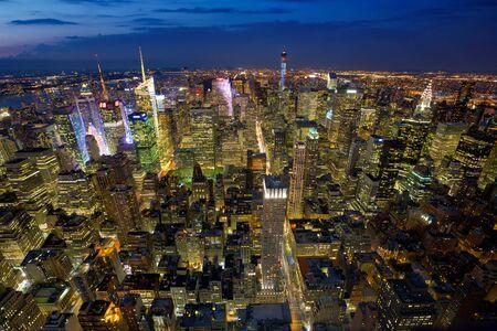 Aerial view of Manhattan at twilight, New York