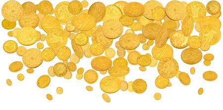 American dollar coins falling from the top isolated on white Standard-Bild - 135131922