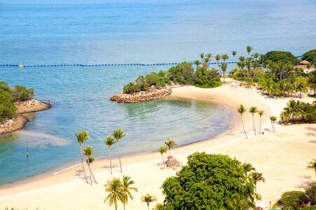 Aerial view of Siloso Beach at Sentosa Island Singapore