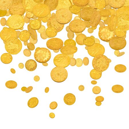 Falling gold american dollar coins  isolated on white