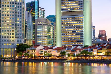 Historical district Boat Quay and modern skyscrapers in Singapore Stok Fotoğraf
