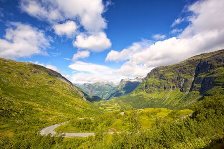 Mountains landscape of Geiranger fjord and valley, Norway