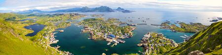 Panorama of Lofoten Islands with Ballstad, aerial view, Norway