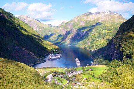 Geiranger Fjord and ruise ships in Norway