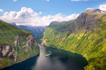 Geiranger Fjord and famous Seven Sisters waterfalls, Norway