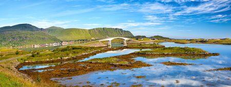 Lofoten panorama with elegant bridges near Fredvang, Norway