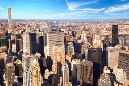 Urban skyscrapers in New York City Manhattan aerial view Stok Fotoğraf