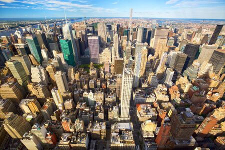 New York City skyline aerial view with skyscrapers of Midtown Manhattan
