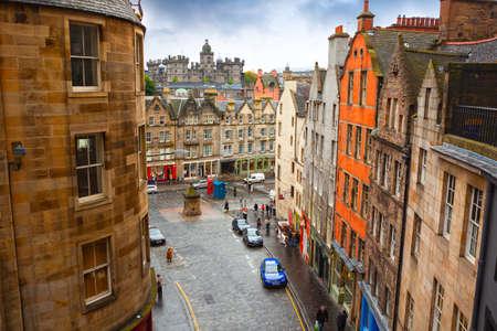 Edinburgh, Scotland, UK - Oktober 01, 2010: Old Town in city center of Edinburgh with view of George Heriot's School