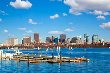 Boston skyline at Back Bay district over the Charles River, US Stok Fotoğraf