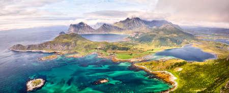 Scenic aerial panorama of Lofoten Islands in Norway