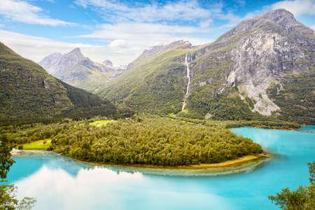 Lake Lovatnet in Lodalen valley, Norway