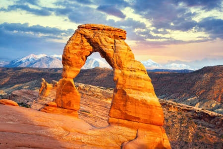 Delicate Arch at sunset, Arches National Park, Utah, United States Stok Fotoğraf