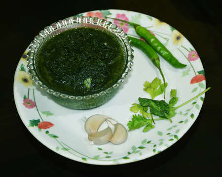 Fresh Green Corainder Chutney also known as Dhaniye ki Chutni in Hindi Stock Photo