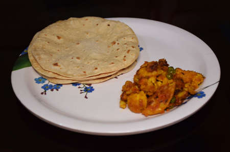 Indian Vegetable Platter or Thali consists of roti and vegetable Stock Photo