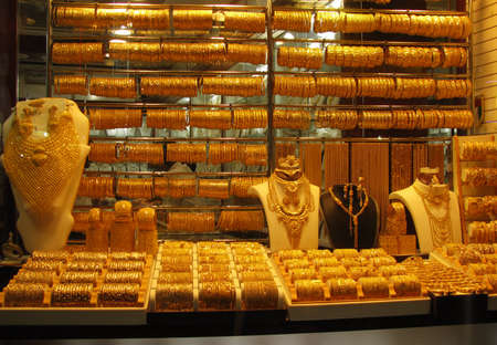 Varoius Gold Ornaments in Display at Dubai Gold Souk