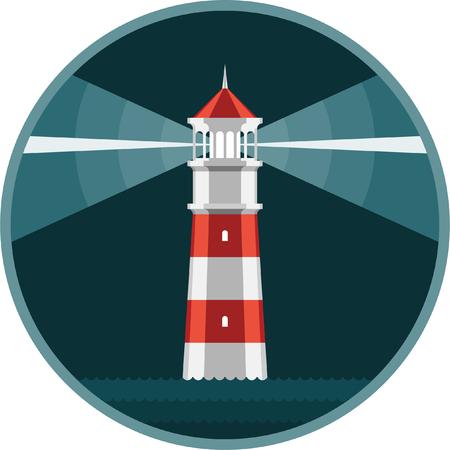 Lighthouse shines at night