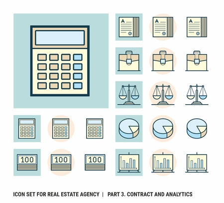 Icon set for real estate agency. Part 3. Contract and Analytics