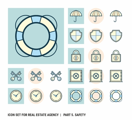 Icon set for real estate agency. Part 5. Safety Illustration
