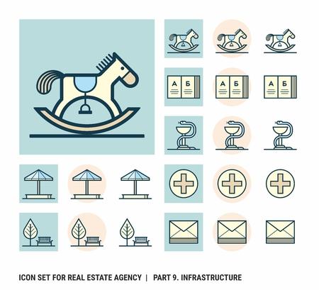 Icon set voor makelaarskantoor. Deel 9. Infrastructuur