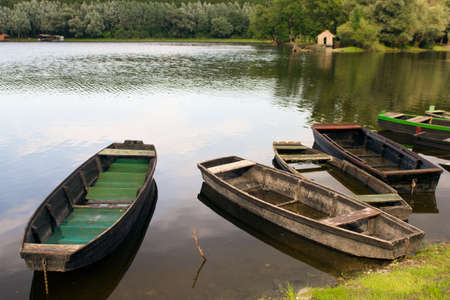 Wooden fishing boats at the Danube river, Serbia
