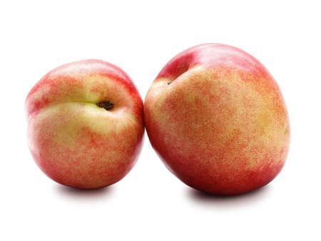 Studio shot of peaches isolated on white   Stock fotó