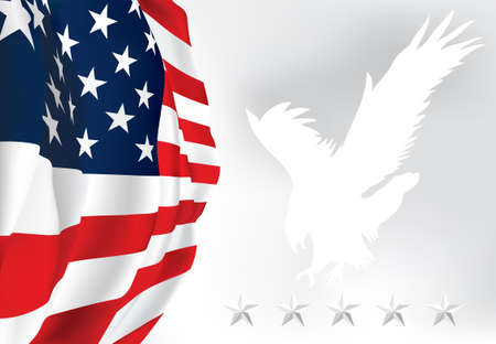 American Flag - Old Glory flag Eagle Stars  Vector