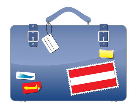Travel Suitcase Austria flag  Illustration