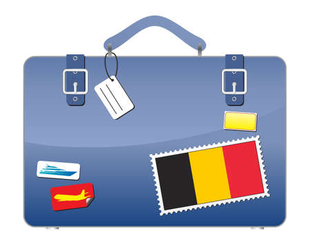 Travel Suitcase Belgium flag  Illustration