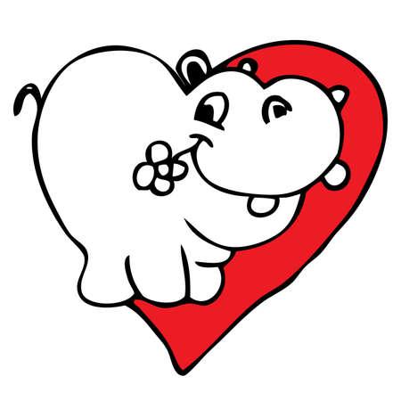 cartoon hippo: Hippo in love doodle cartoon