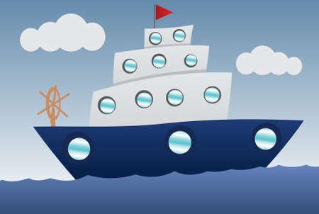Barca divertente cartone animato Vettoriali
