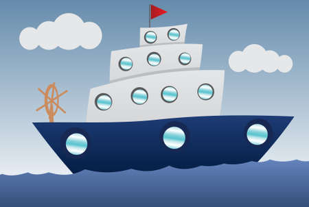 navy blue: Funny Boat cartoon Illustration