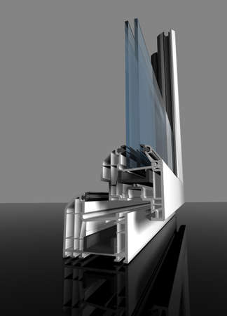 White aluminum window cut out with glass