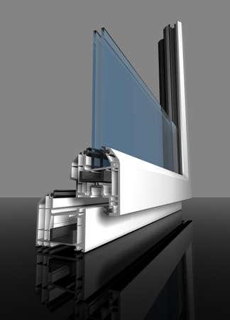 ventanas abiertas: Ventana blanca de pl�stico cortadas con vidrio