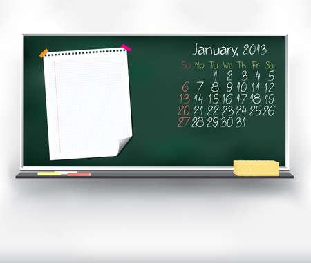 Scribble calendar on the blackboard  January 2013 Vector